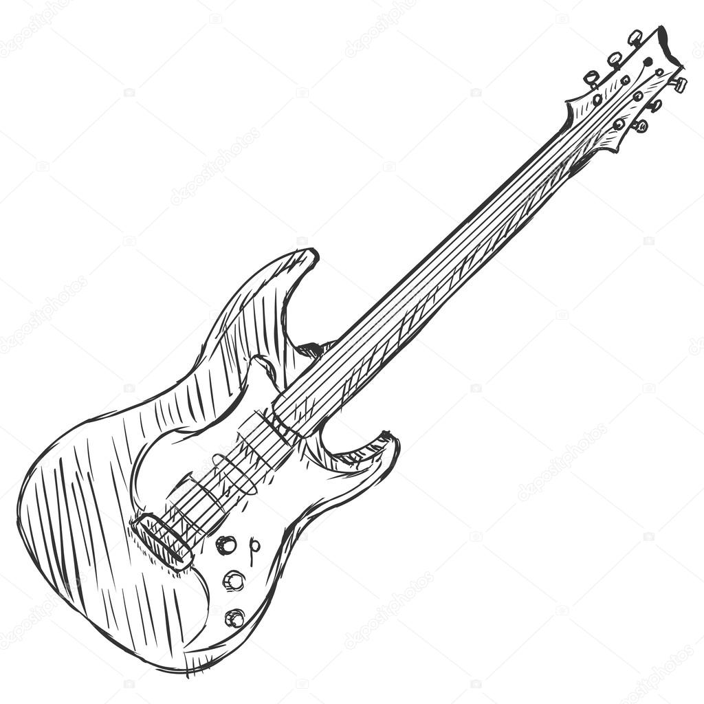 Vector Sketch Electric Guitar Stock Vector C Nikiteev 42907175