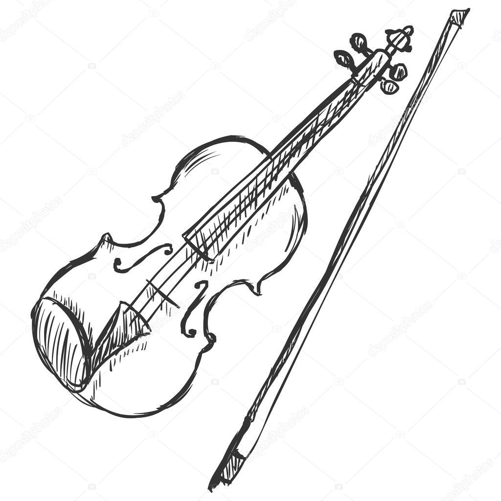 Vector Sketch Violin With Fiddle Bow Stock Vector C Nikiteev