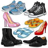 Vektorové sada kreslený boty