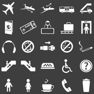 Vector Set of 25  White Airport Icons