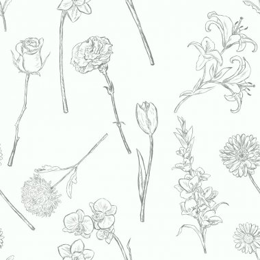Vector Seamless Pattern of Flowers