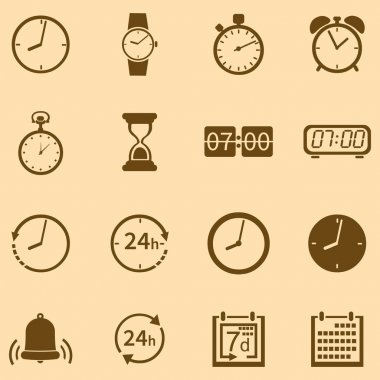 Vector Set of 16 Brown Time Icons