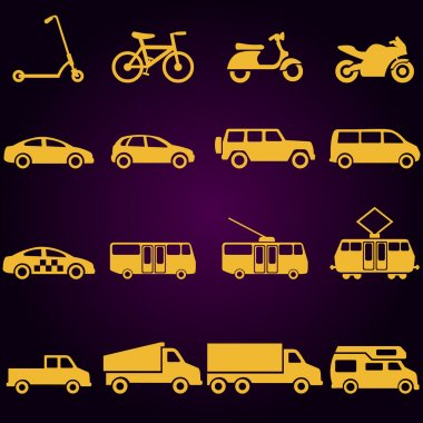 Vector Set of 16 Yellow Ground Transportation Icons