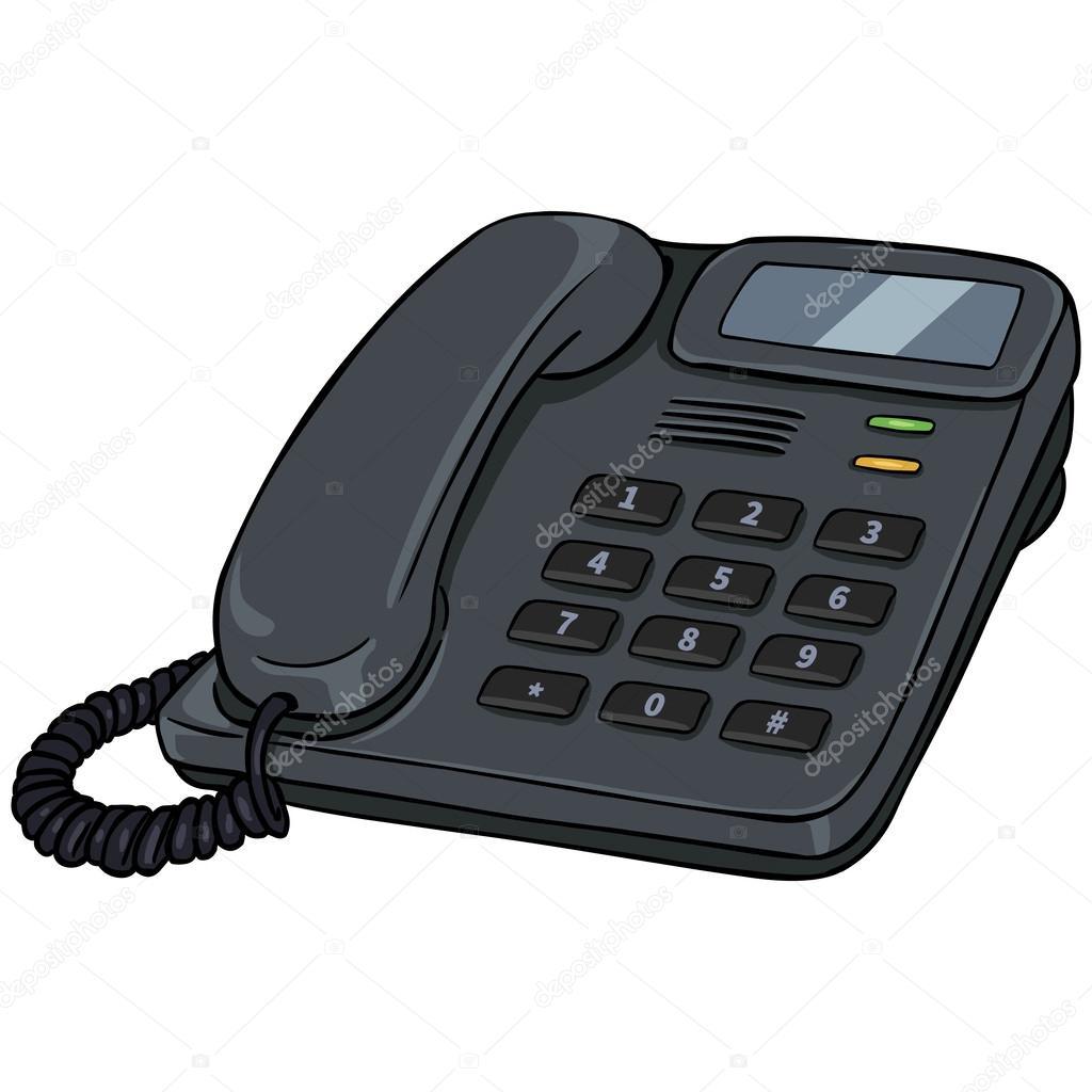 Tel fono de la oficina de vector de dibujos animados for Telefono oficina
