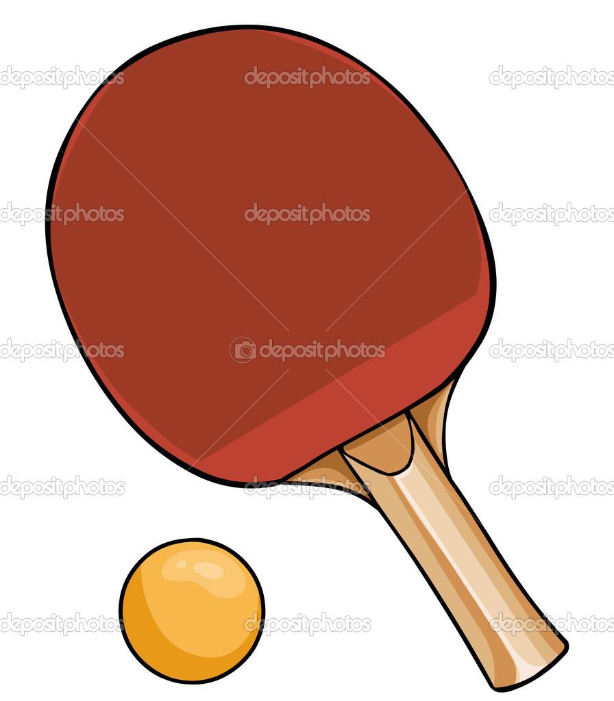 Balle et raquette de ping pong pour le dessin anim vector - Raquette dessin ...