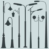Fotografia set vettoriale delle sagome di luci di via