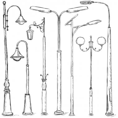 Vector Set of Sketch Street Lights