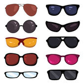 Vector Set of Color Cartoon Glasses