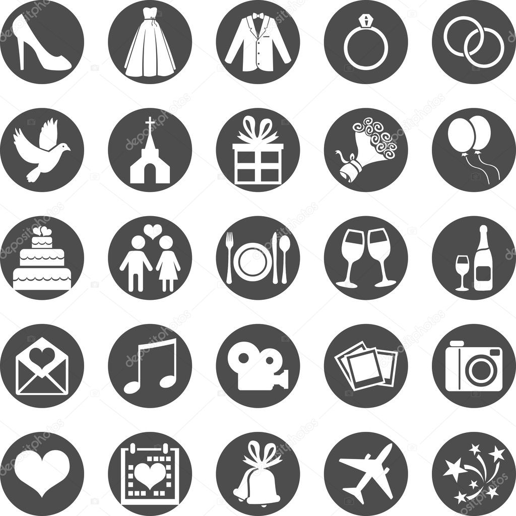 Set of Color Square Wedding Icons