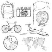 sada objektů náčrtu cestování a příznaky