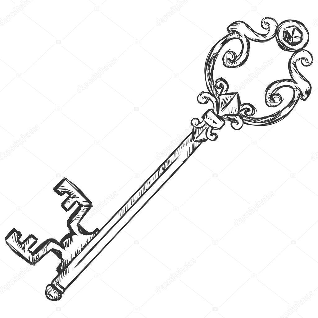 Antique key stock vector nikiteev 51051563 for Llaves para lavabo antiguas