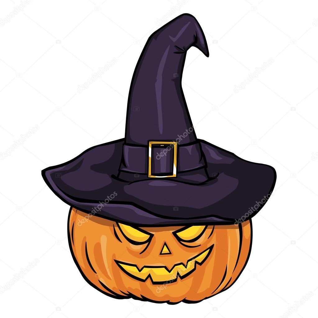 calabaza de Halloween en sombrero de la bruja — Archivo Imágenes ... 7e94c010edc