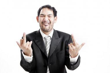 Upset businessman giving middle finger