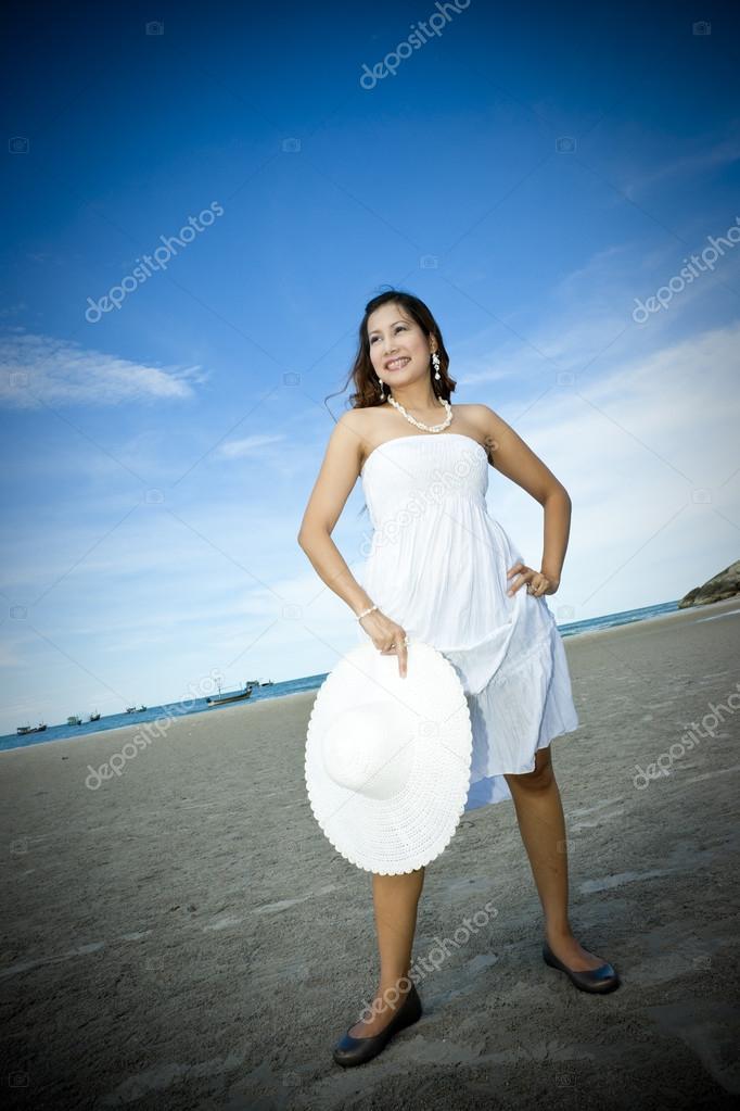 Beautiful asian girl on beach