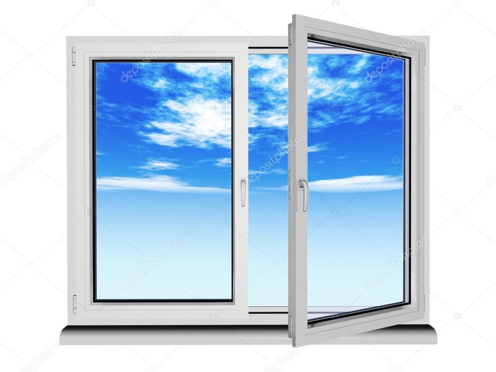 zwei Ebenen und zwei Plastik-Rahmenfenster mit blauer Himmel ...