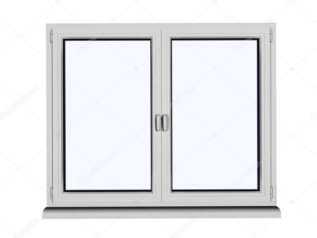 dos capas y marco dos ventana plástica con un marco abierto ...