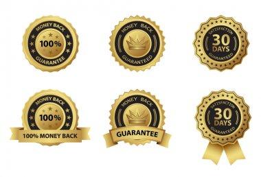 Money back guarantee gold badge label stock vector