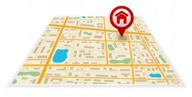 gps map 3d with pin mark icon