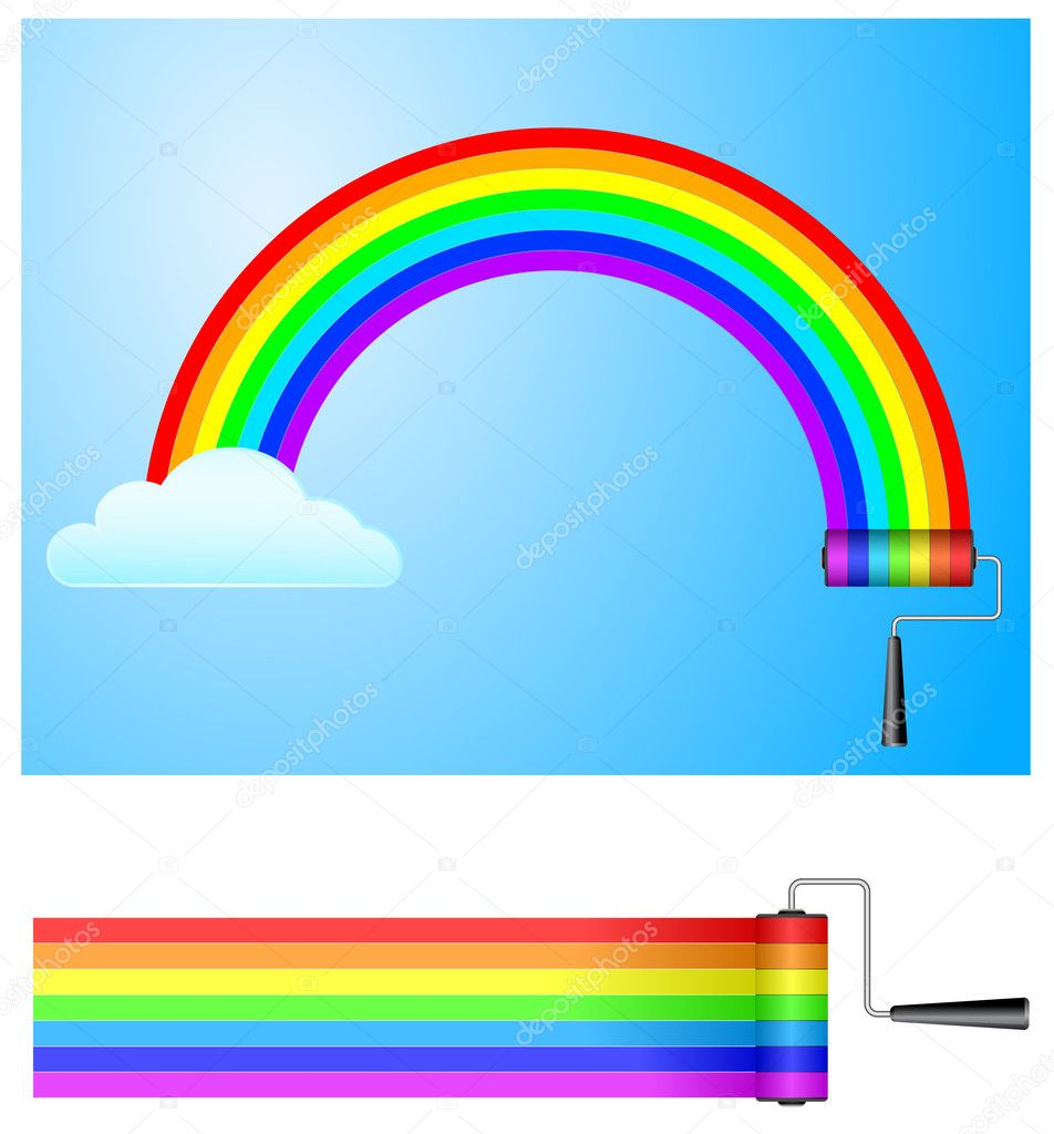paint roller with rainbow
