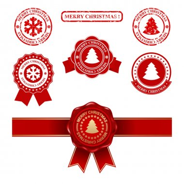 christmas labels and seal stamp set - meryy christmas design