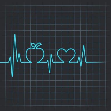Heartbeat make apple and heart symbol vector illustration stock vector