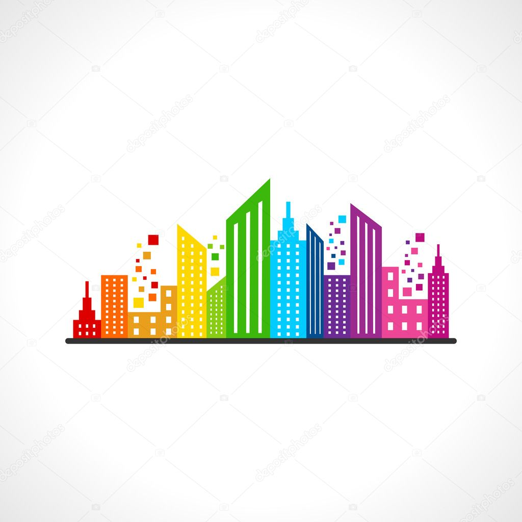 Illustration of abstract colorful buildings