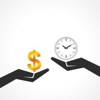 Hand hold dollar and clock symbol