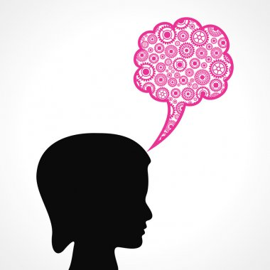 Gears make a speech bubble with female face