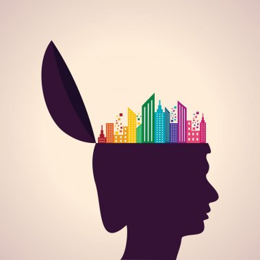 Illustration of thinking concept-Human head with building