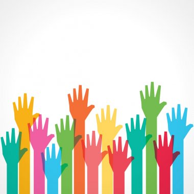 Colorful up hands background