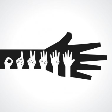 Vector hands make number one to five with copy-space clip art vector