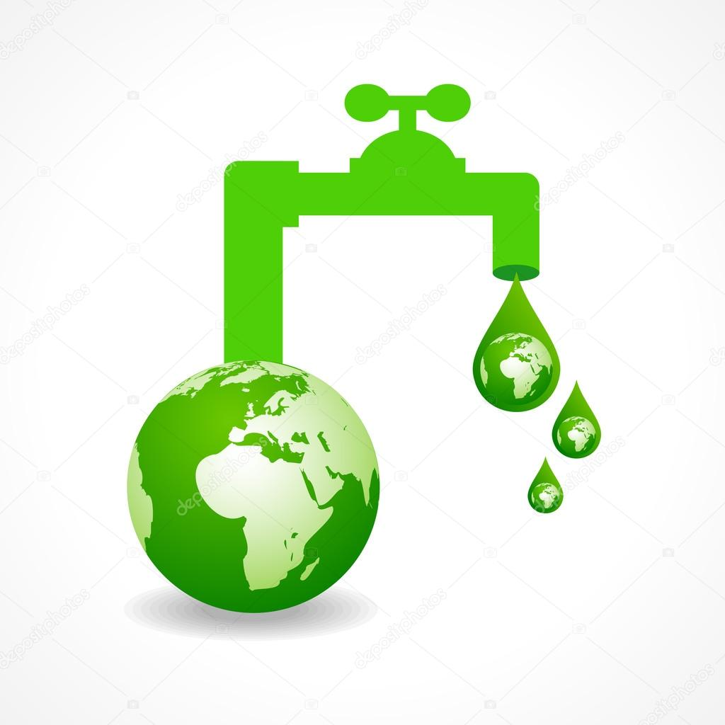 Save water concept with earth