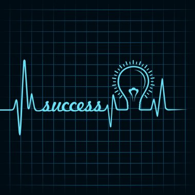 Heartbeat make success word and light-bulb