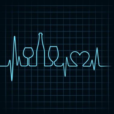 Heartbeat make wine glasses,bottle and heart symbol