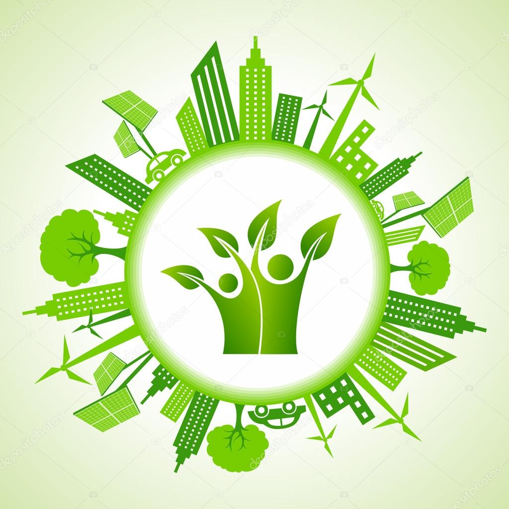 Eco cityscape with green people icon