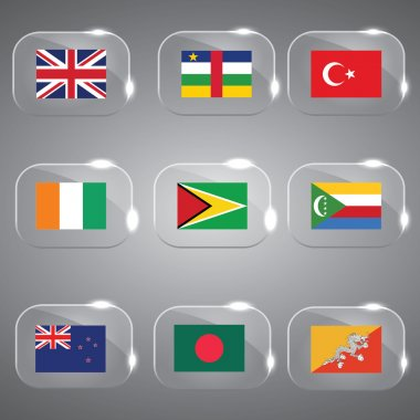 Flags of the world flags europe flags of europe flags vector flags country flags glass flags set