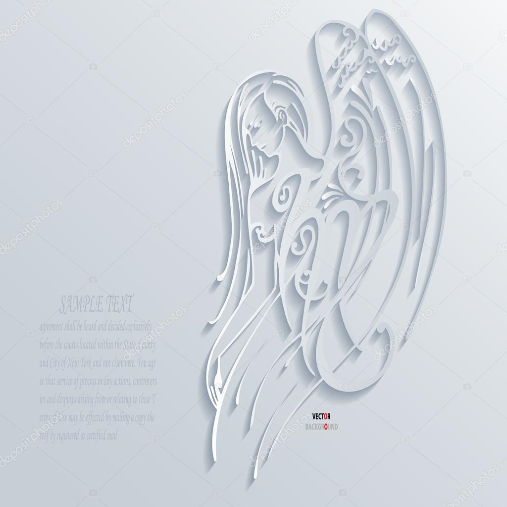 Girl Eagle Abstract 3D Design Background Vector