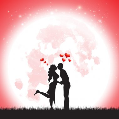 Love Silhouette illustration of two lover in romantic over the moonLove Silhouette illustration of two lover in romantic over the moon