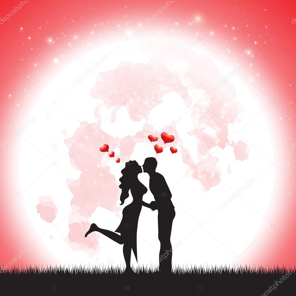 Love Silhouette illustration of two lover in romantic over the moonLove Silhouette illustration of two lover in romantic over the moon stock vector