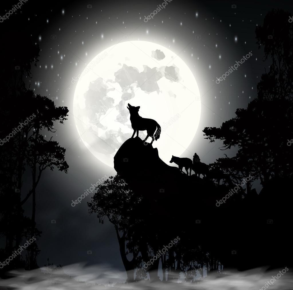 Волк воет на Луну вектор — Векторное изображение ...