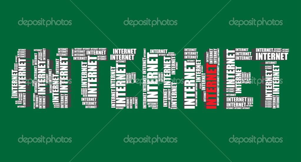 Internet typography 3d text word art vector illustration word cloud