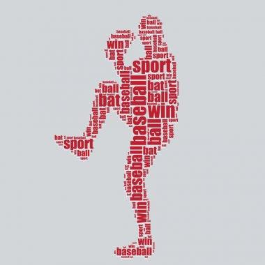 Baseball typography 3d text word art baseball vector illustration word cloud