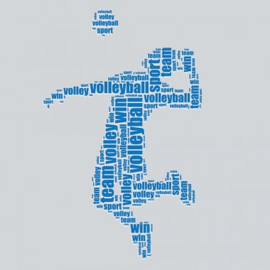 Volleyball typography 3d text word art volleyball vector illustration word cloud