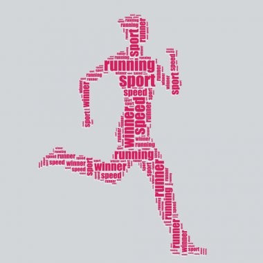 Running typography 3d text word art running vector illustration word cloud