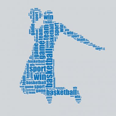 Basketball typography 3d text word art basketball vector illustration word cloud