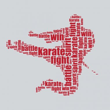 Karate typography 3d text word art karate vector illustration word cloud