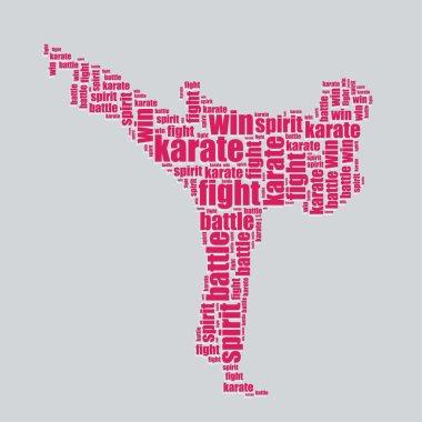 Karate typography 3d text word art karate vector illustration word cloud