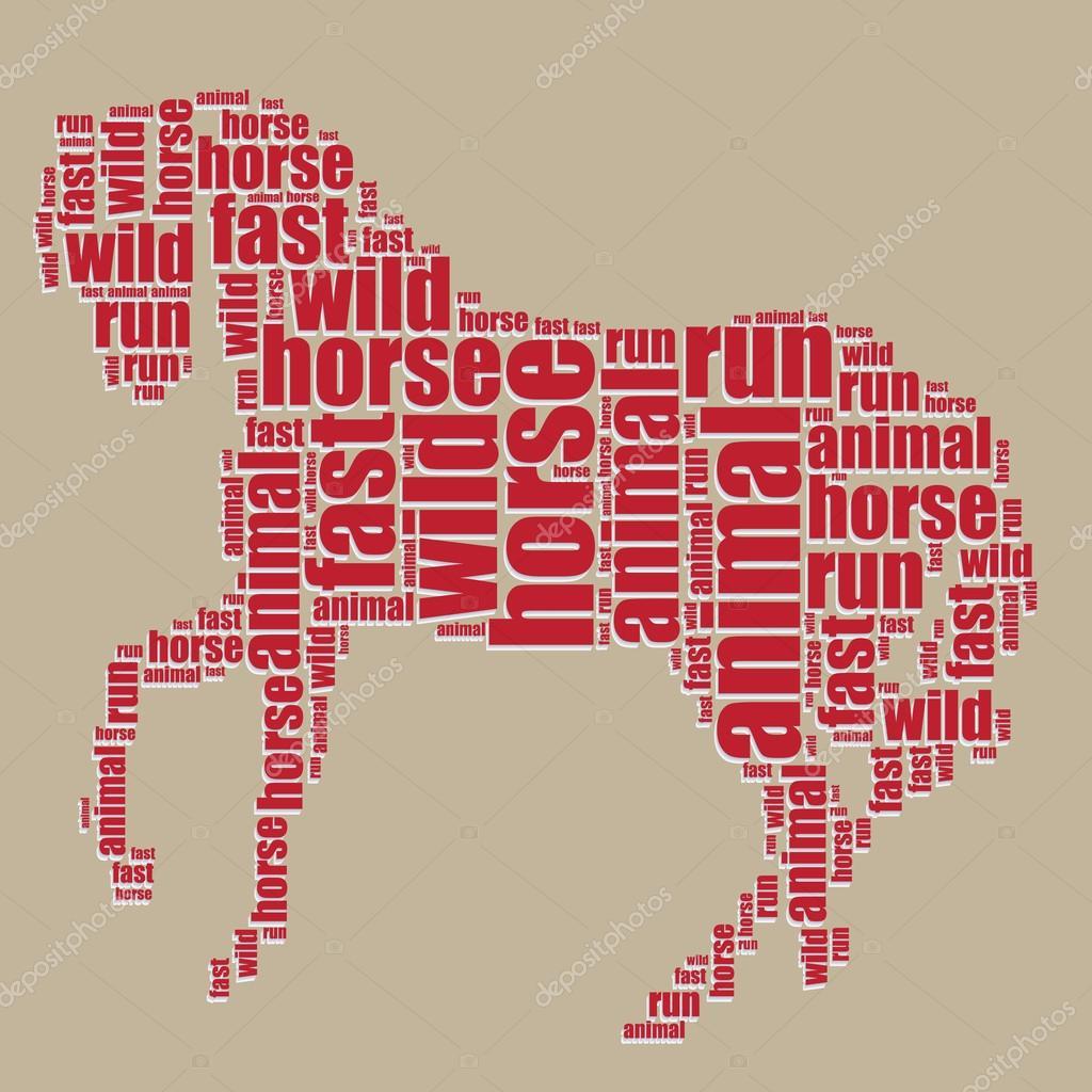 Typography Word Art: Horse Typography 3d Text Word Art Horse Vector
