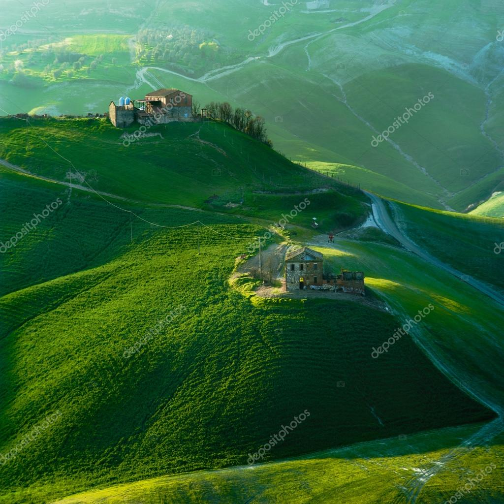 Tuscan green spring at sunset, Italy