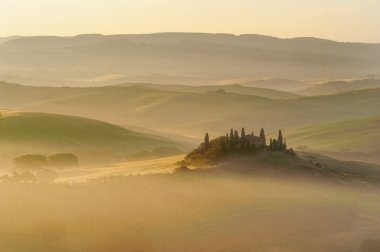 The mysterious fog surrounding Tuscan house and fields, Italy stock vector